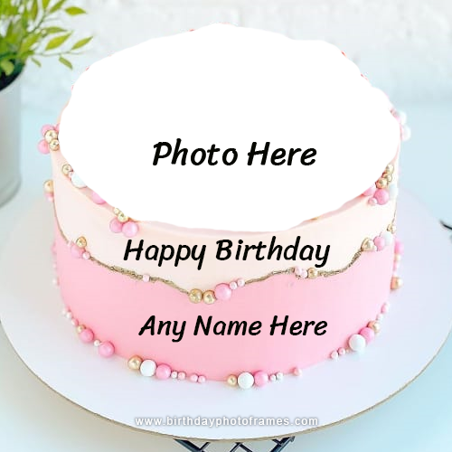 Beautiful Pink Birthday Cake with Name and Photo