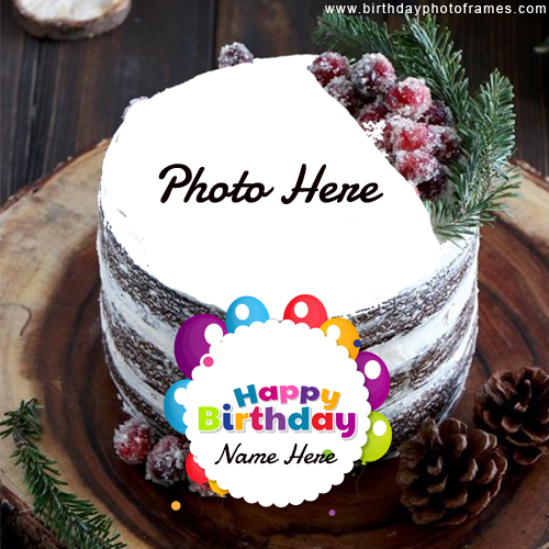 Best wishes on Birthday with their name and Photo on cake