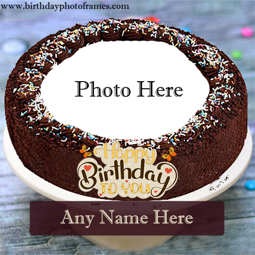 Birthday with beautiful Chocolate cake with name photo