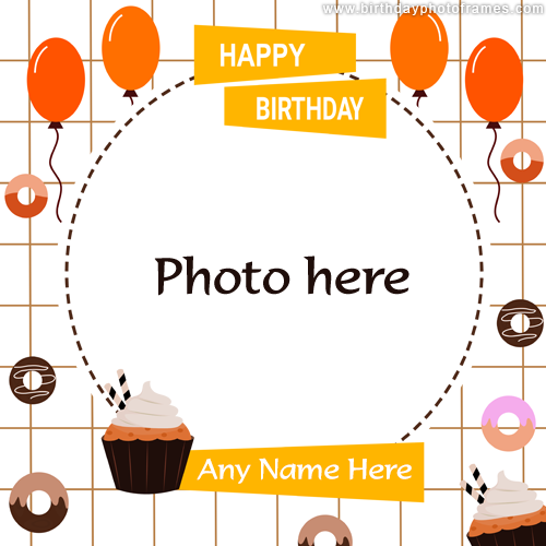 Cheerful Happy Birthday card with name and photo edit