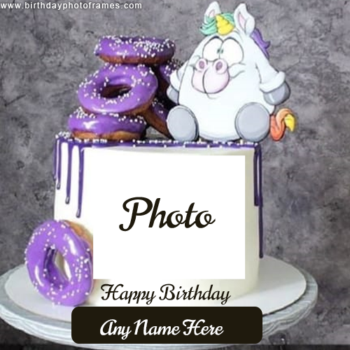 Chocolate Donuts Cake with Name and Photo Free Editor