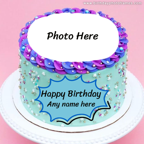 Colorful Happy Birthday Cake With Name And Photo Edit