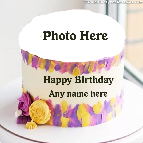 Flower birthday cake with Name and Photo
