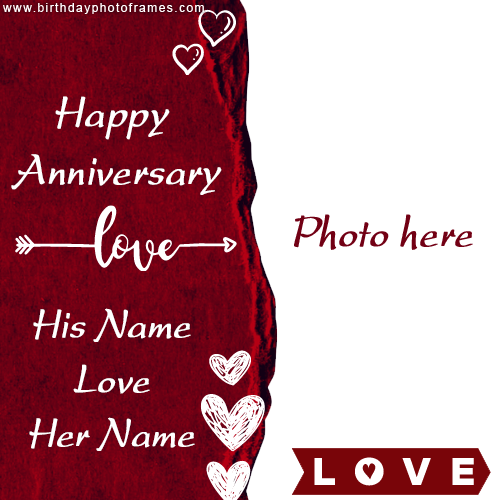 Free Wedding Anniversary Card with Name and Photo Edit