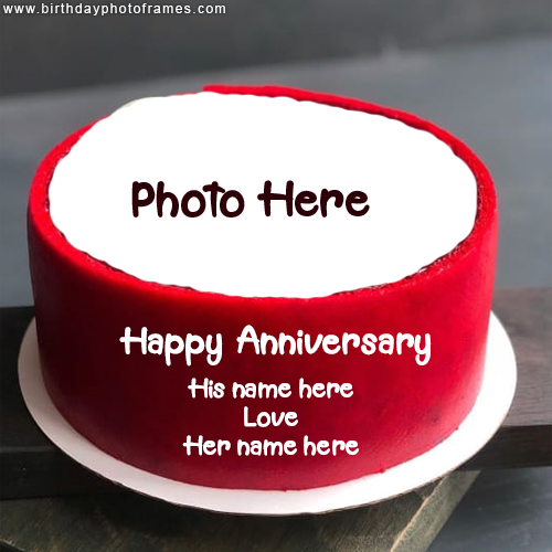 happy anniversary cake with couple name and photo
