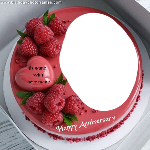 Happy Anniversary Cake with Name and Photo Edit