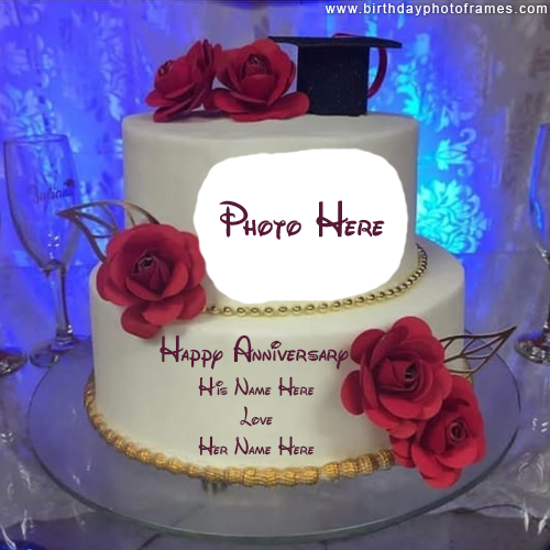 Happy Anniversary Cake with Name and Photo editor