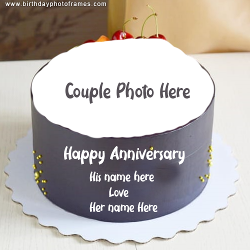 Happy Anniversary Cake with Name and photo of Couple