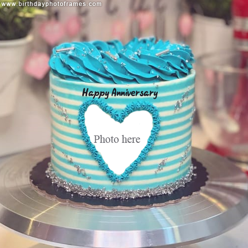 Happy Anniversary Cream Cake with Photo Edit