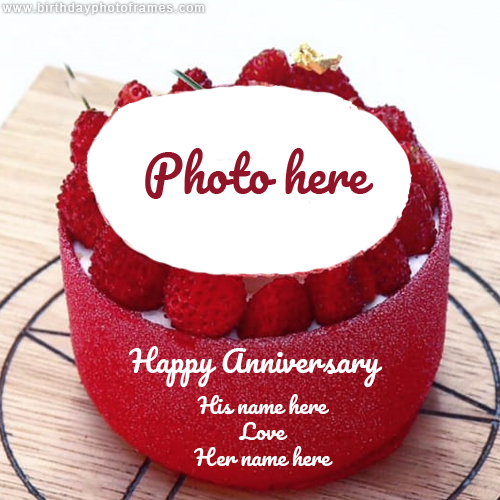 Happy Anniversary Strawberry Cake with Photo and Name Edit
