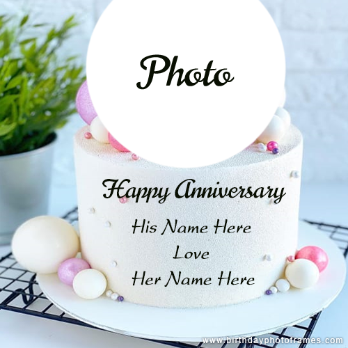 Happy Anniversary cake with Couple Name and Pic editor