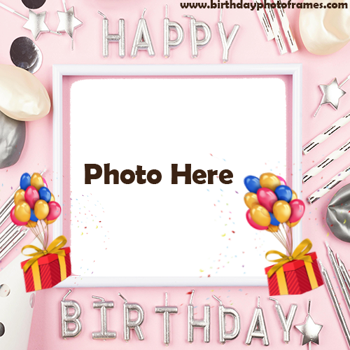 Happy Birthday Balloon Card With Name And Photo Edit