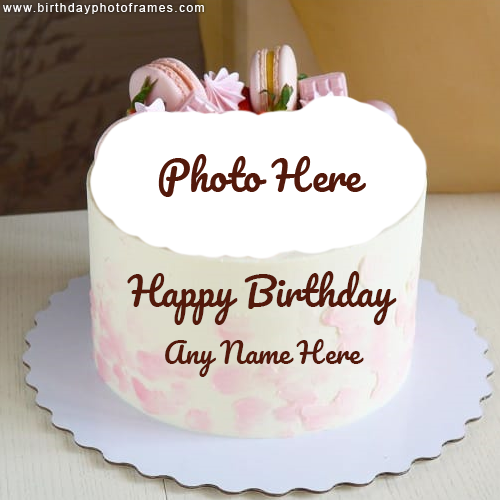 Happy Birthday Biscuit Cake with Name and Photo Edit