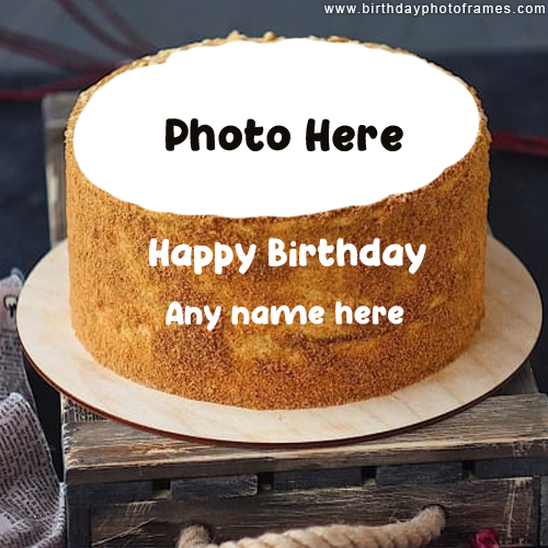 Happy Birthday Brown Cake with Name and Photo Edit