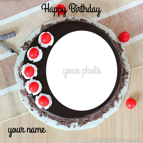 Happy Birthday Chocolate Cake with Name and Photo Edit