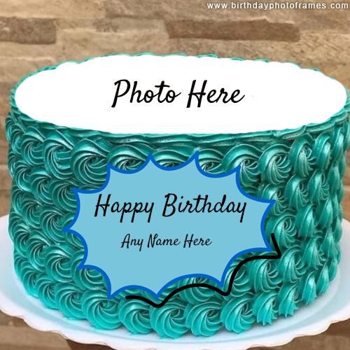 Happy Birthday Cream Blue Cake With Name And Edit Option