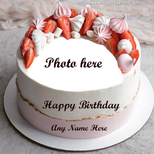 Happy Birthday Creamy Cake with Name and Photo Edit
