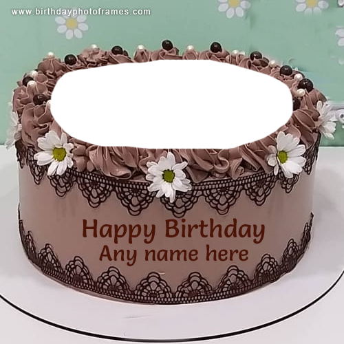 Happy Birthday Flower Cake with Name and Photo Edit