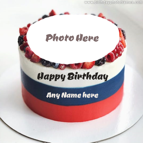 Happy Birthday Fruit Cake with Name and Photo Edit Option