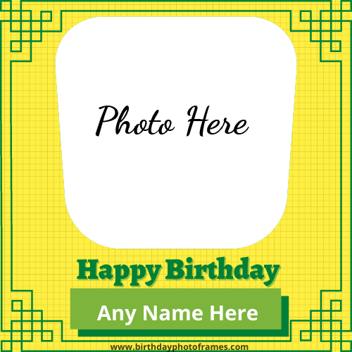Happy Birthday Green Greeting Card with name and photo