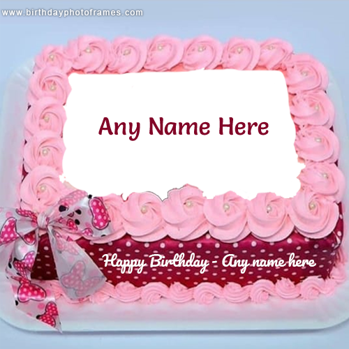 Happy Birthday Pink Flower Cake with Name and Photo Edit