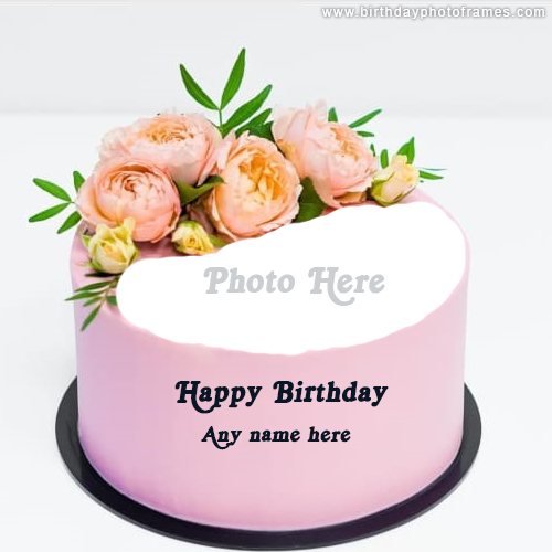 Happy Birthday Pink Rose Cake with Name and Photo Edit