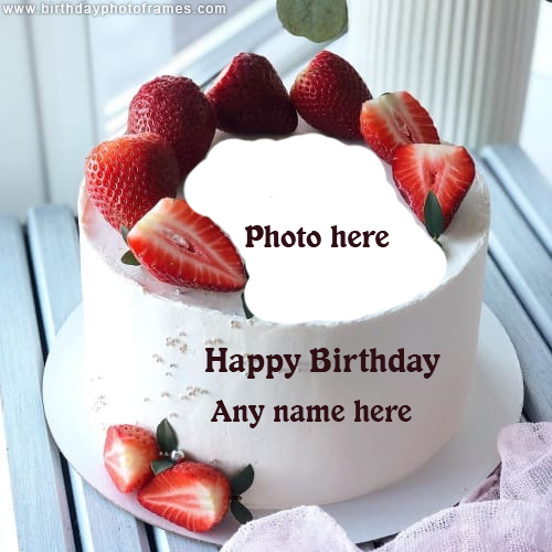 Happy Birthday Red Strawberry Cake with Name and Photo