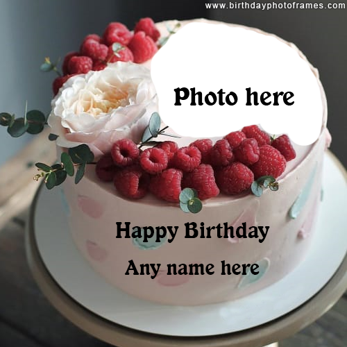 Happy Birthday Strawberry Cake with Name and Photo Edit