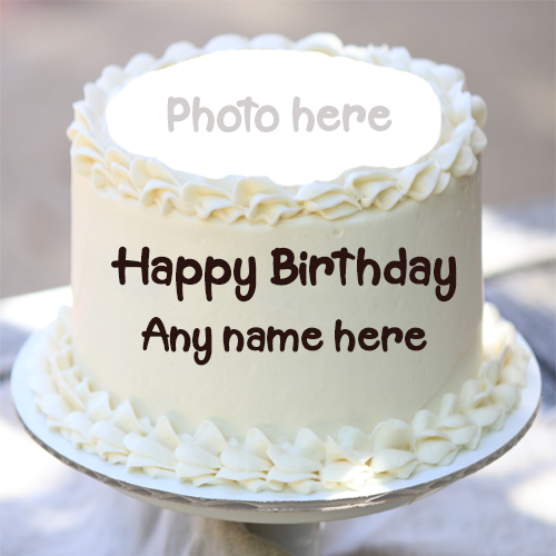 Happy Birthday White Cake with Name and Photo Edit