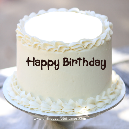 Wondrous Happy Birthday White Cake With Name And Photo Edit Funny Birthday Cards Online Aeocydamsfinfo