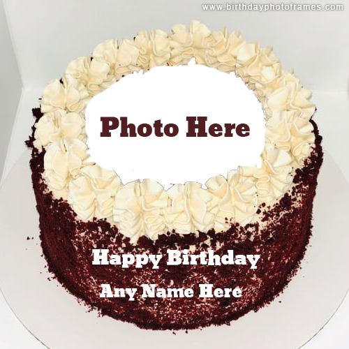 Happy Birthday White and Red Cake with Name and Photo Edit