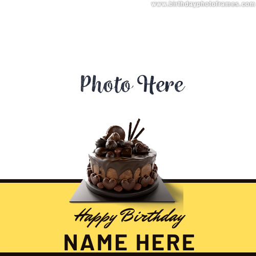 Happy Birthday Wishes Cake with Name and Photo Edit