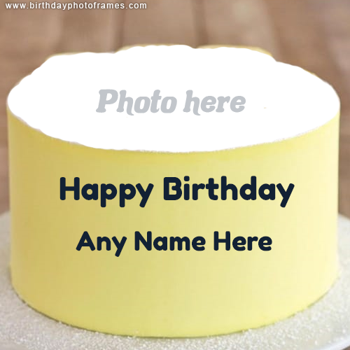 Happy Birthday Yellow Cake with Name and Photo Edit