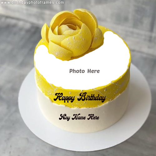Happy Birthday Yellow Rose Cake with Name and Photo Edit Online