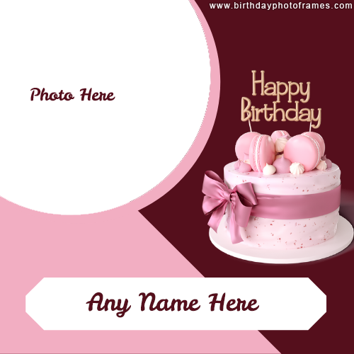 Happy Birthday cake with photo and name pic Edit