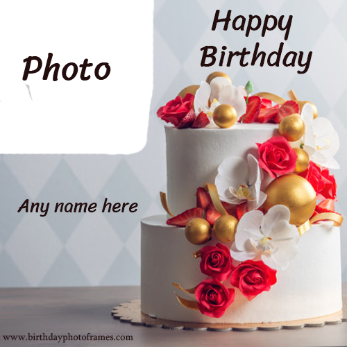 Happy Birthday day Cake with lovely Name and Photo Online Editor
