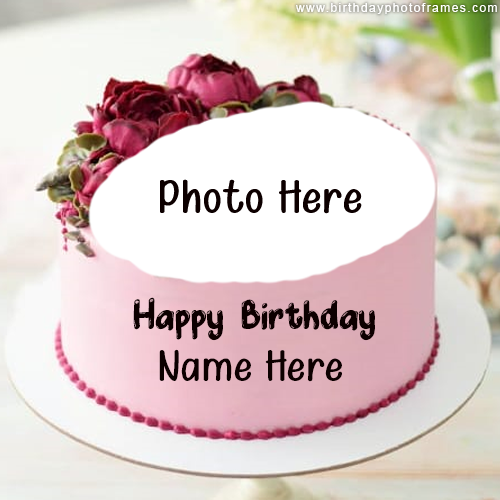 Happy Birthday wishes with their name and Photo on cake