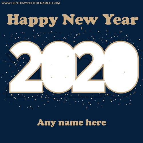 Happy New Year 2020 card with Name and Photo Card