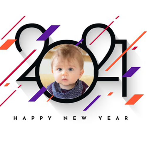 Happy New Year 2021 with photo frame online