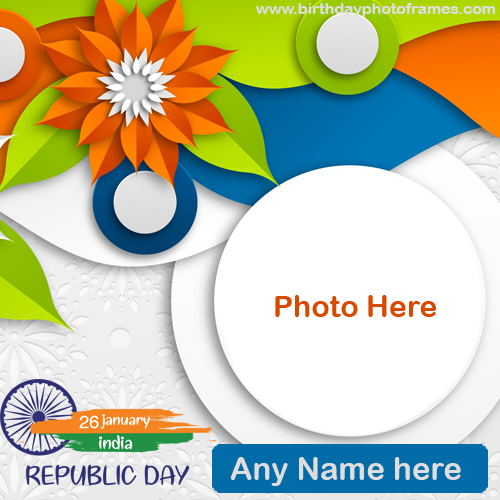 happy republic day Card with name and photo