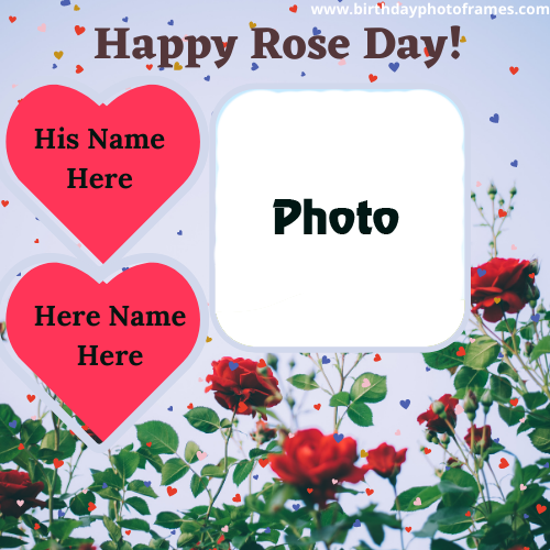 Happy Rose Day 2021 wishes card with name and photo