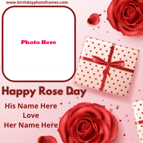 Happy Rose Day Card with Couple Names and Photos