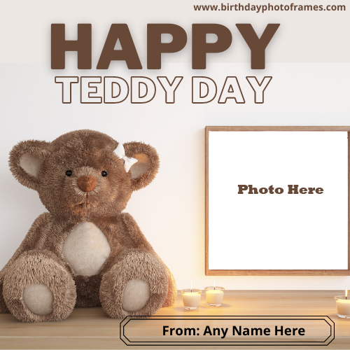 Happy Teddy Day Wishes with Name and Photo Edit