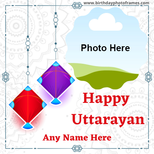 Happy Uttarayan 2021 Card with Name And Photo Edit