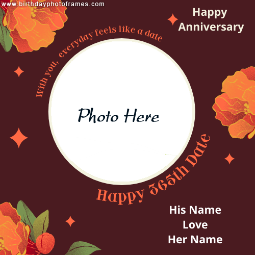 Happy anniversary 365th date card with couple name and photo