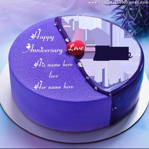 Happy anniversary love cake with name and photo