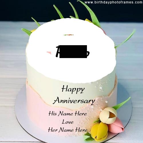 Happy anniversary pink and white shade cake Name and Photo