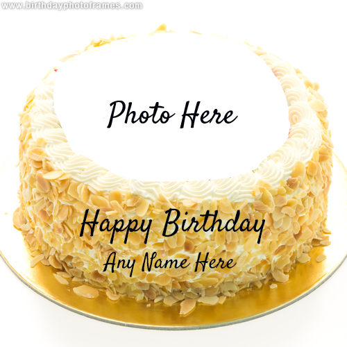 Happy birthday cake image with name and photo edit