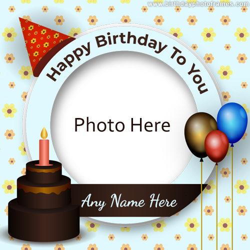 Happy birthday card for a kid with photo and name