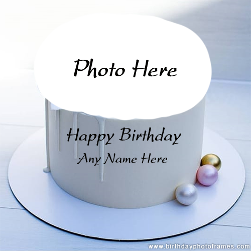 Happy birthday white pearl cake with name and photo